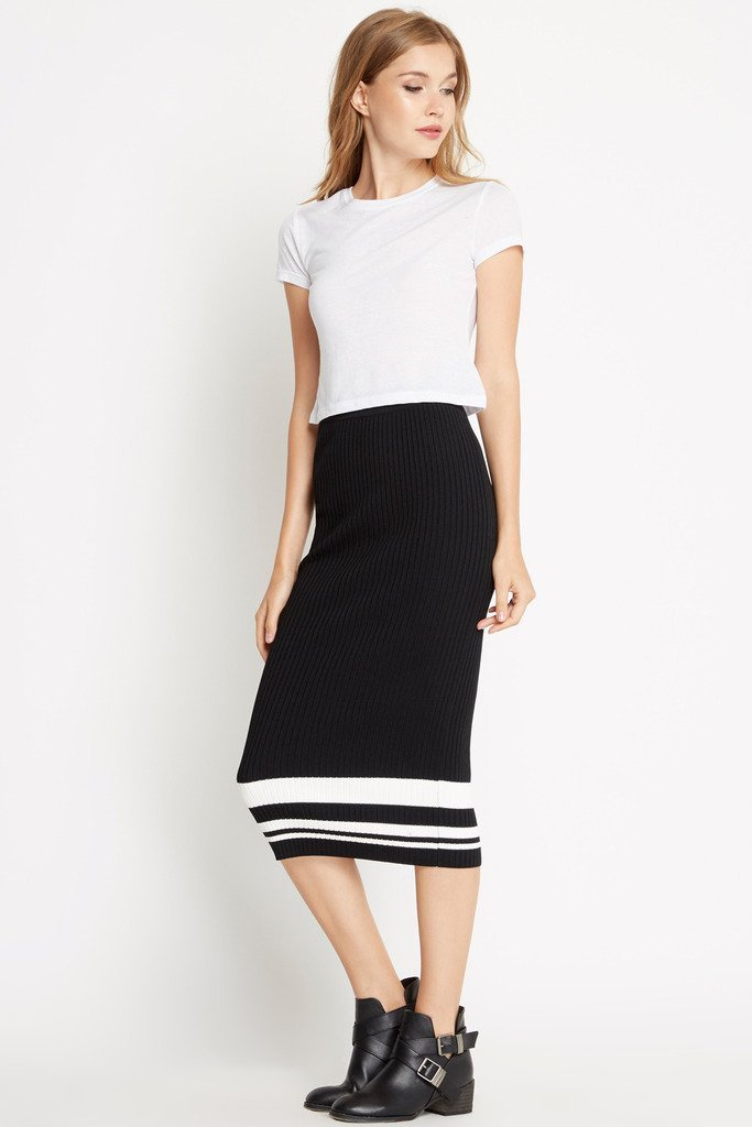 Poshsquare Skirts S / Black Sporty Ribbed Knit Bodycon Skirt