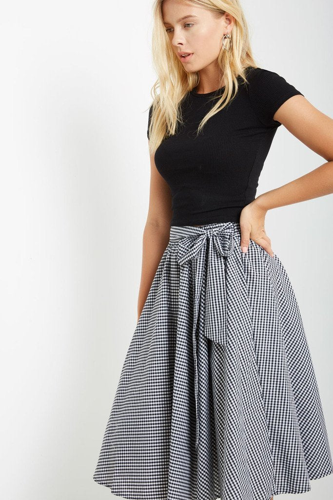 Poshsquare Skirts S / Black White Gingham Gingham Midi Skirt