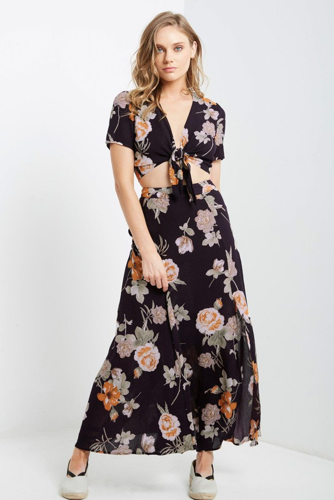 Poshsquare Skirts S / Blackberry Cam Floral Maxi Skirt