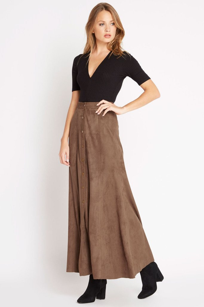 Poshsquare Skirts S / Brown Grand Prairie Faux-Suede Maxi Skirt