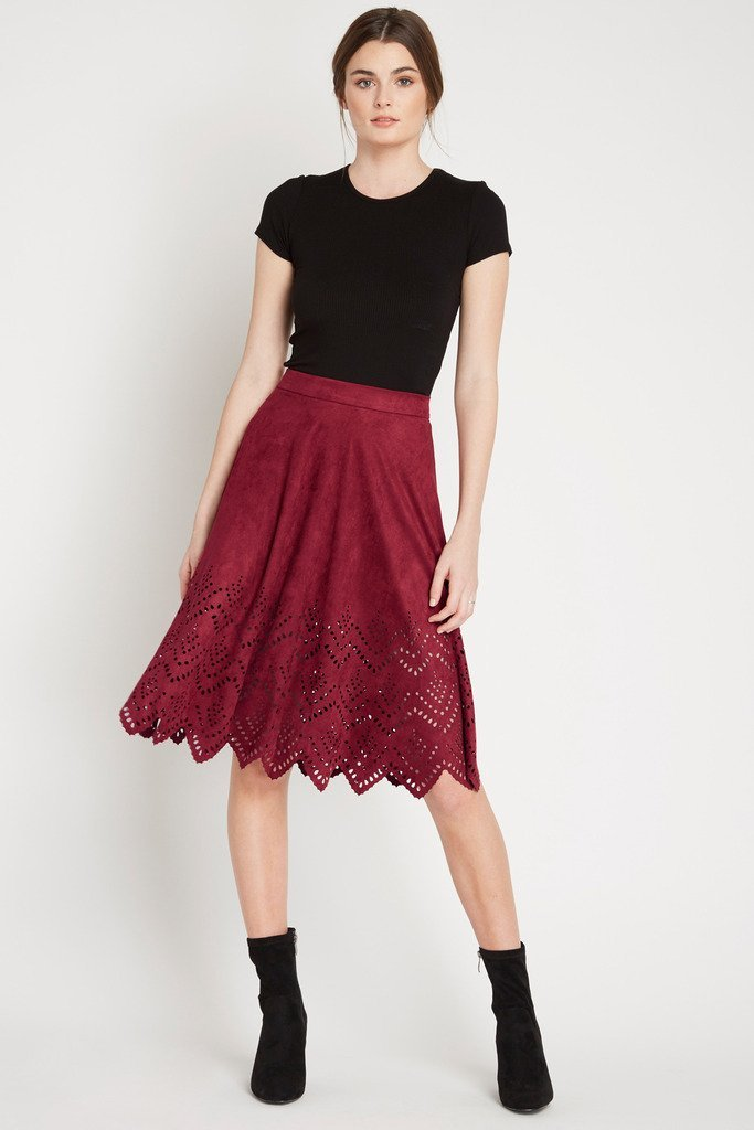 Poshsquare Skirts S / Burgundy Element Suede Midi Skirt