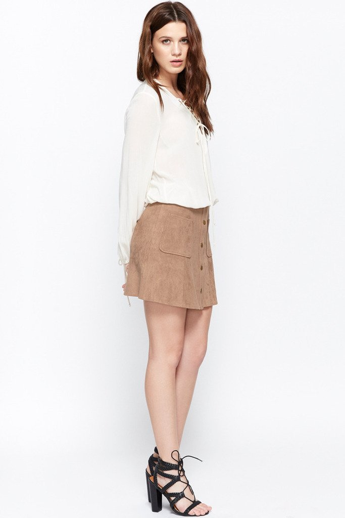 Poshsquare Skirts S / Camel Cool Factor Faux-Suede Pocket Skirt
