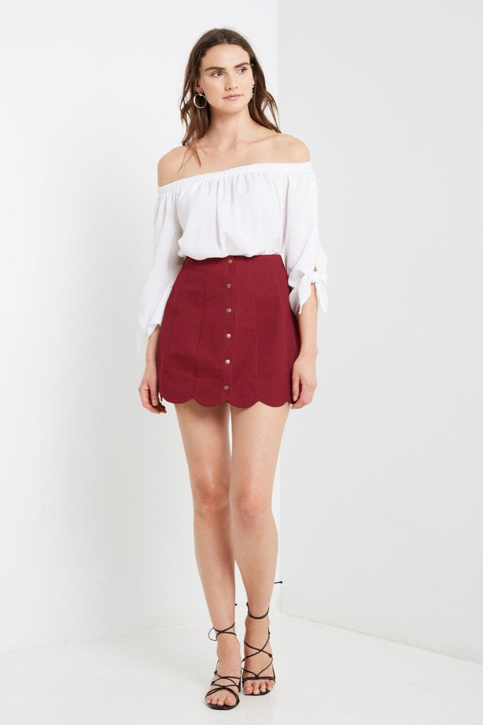 Poshsquare Skirts S / Dark Red Red Anna Scalloped Skirt