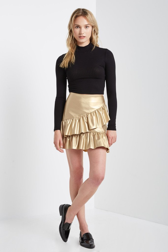 Poshsquare Skirts S / Gold Row Ruffle Mini Skirt