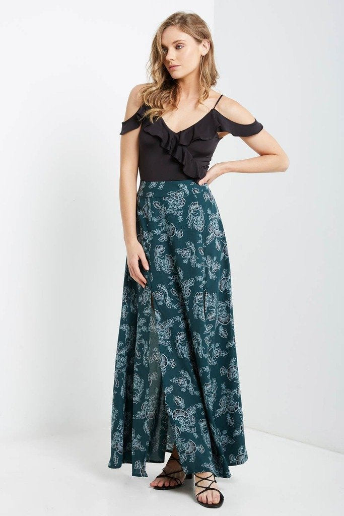 Poshsquare Skirts S / Green Oster Printed Side Slit Maxi Skirt