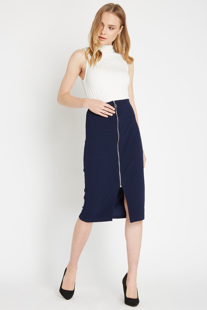 Poshsquare Skirts S / Navy Business First Midi Pencil Skirt