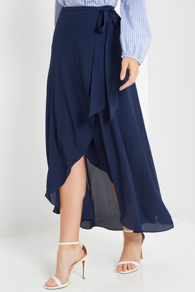 Poshsquare Skirts S / Navy Celestia Wrap Maxi Skirt