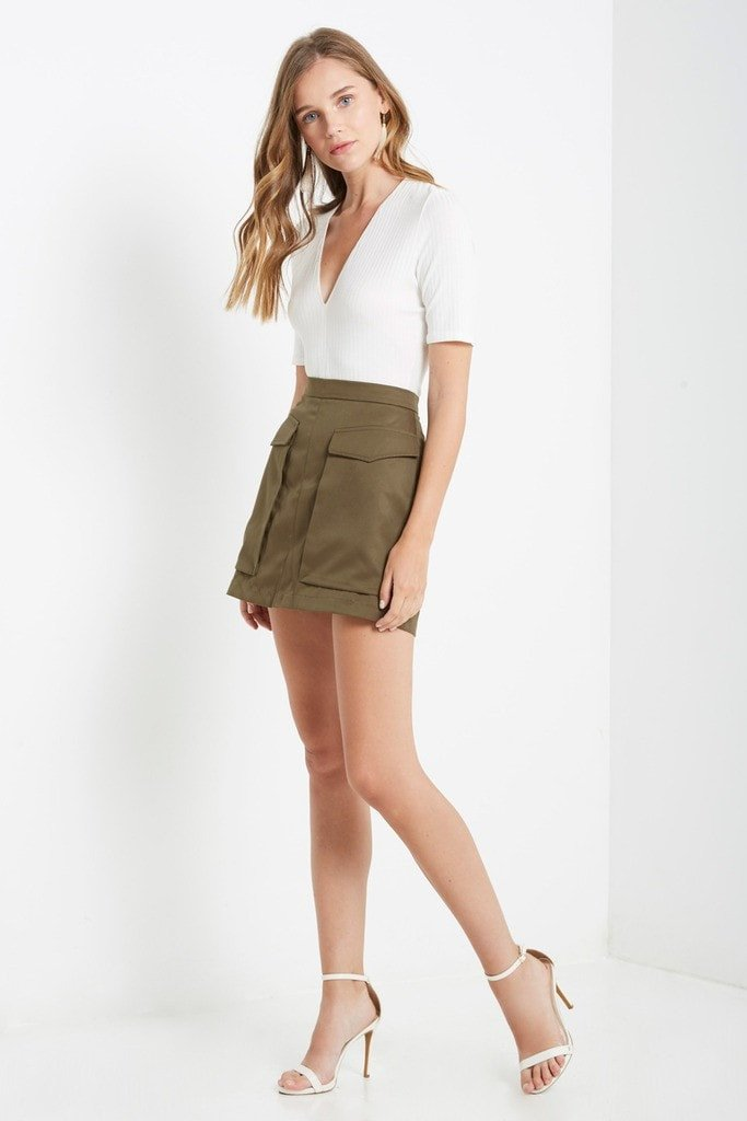 Poshsquare Skirts S / Olive Style Recruit Cargo Mini Skirt
