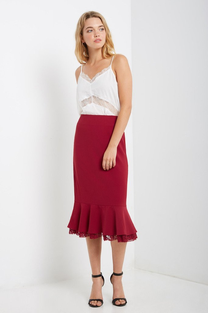Poshsquare Skirts S / Red Mari Mermaid Midi Skirt