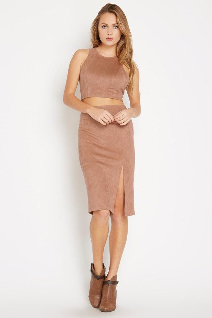 Poshsquare Skirts S / Toffee Hide Hopes Faux-Suede Pencil Skirt