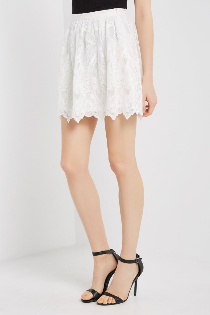 Poshsquare Skirts S / White Embroidered Lace Mini Skirt