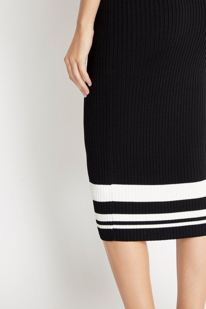 Poshsquare Skirts Sporty Ribbed Knit Bodycon Skirt