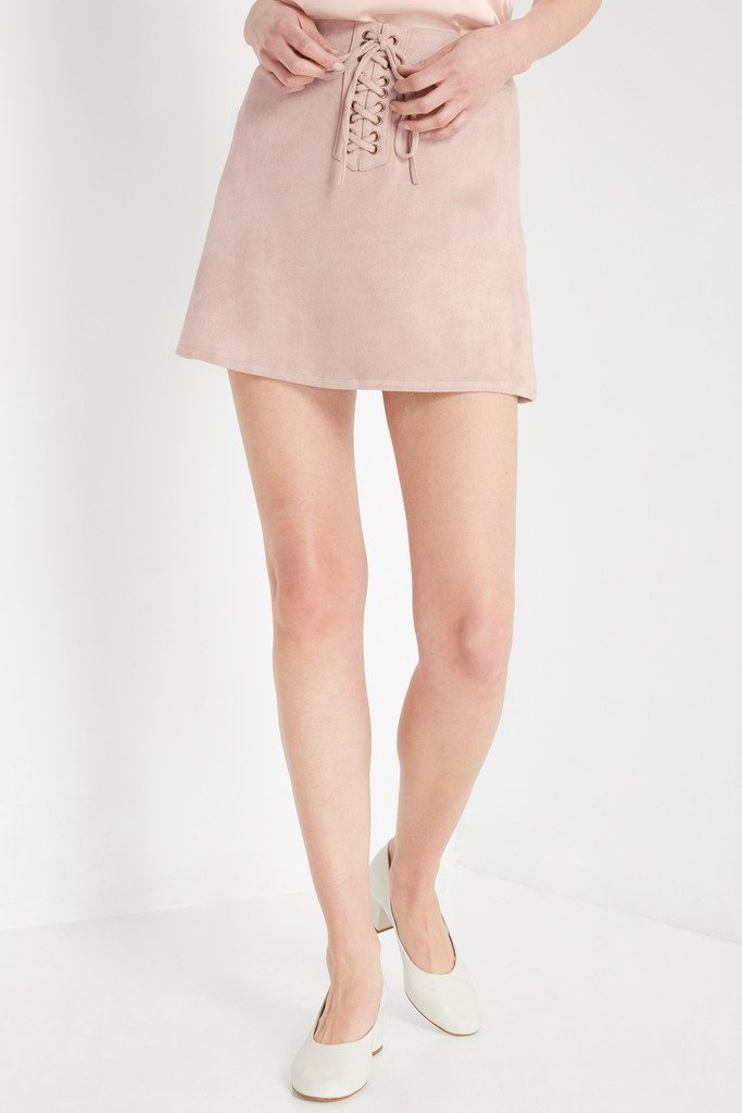Poshsquare Skirts Tan Faux Suede Lace Up Skirt