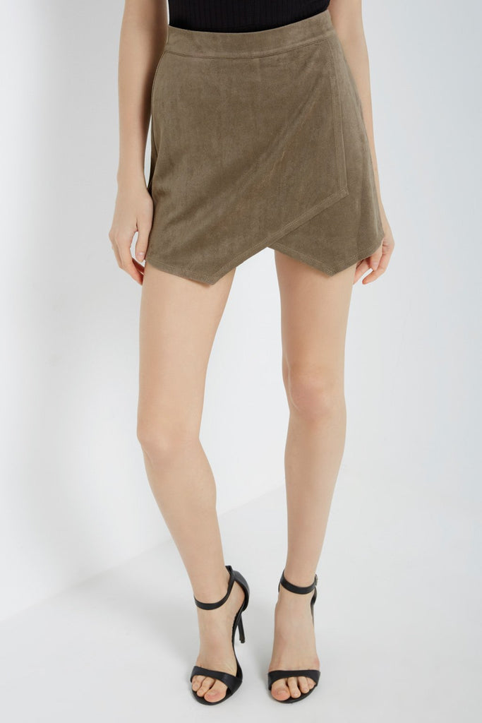Poshsquare Skirts XS / Opal Grey Faux Suede Asymmetrical Skort