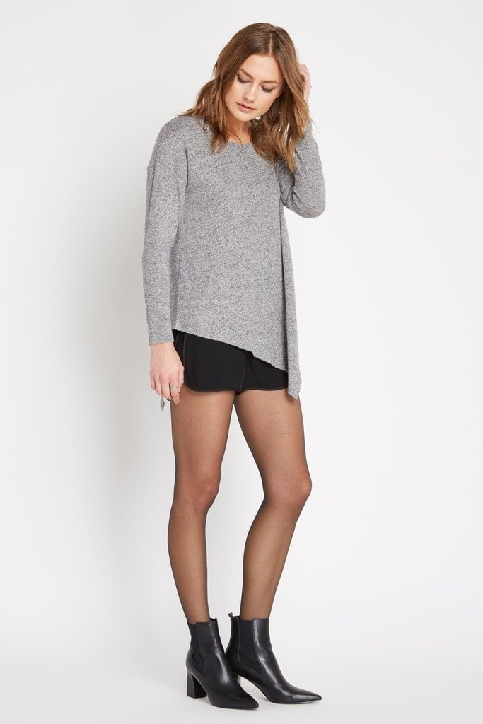 Poshsquare Tops Asymmetrical Heathered Sweater Top