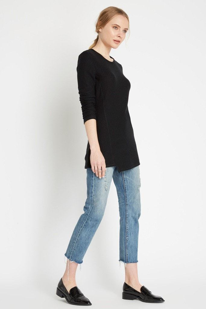Poshsquare Tops Black Aerin Ribbed Long Sleeve Top