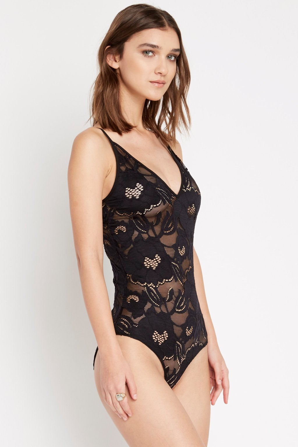 Poshsquare Tops Black Lace Consumption Bodysuit