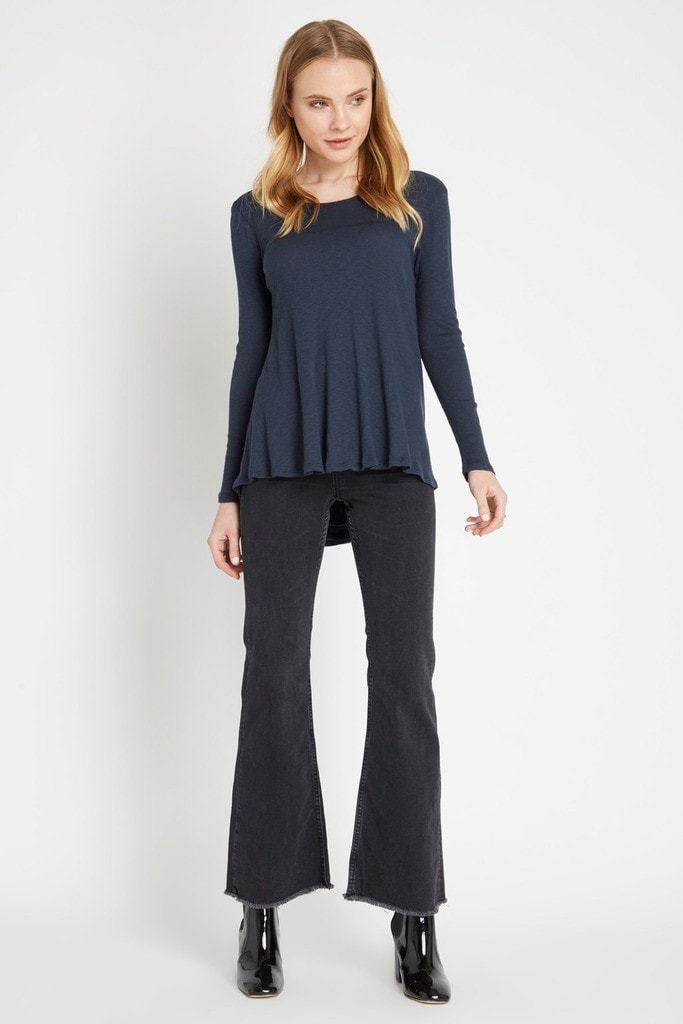 Poshsquare Tops Blue Eden Ribbed Long Sleeve Top