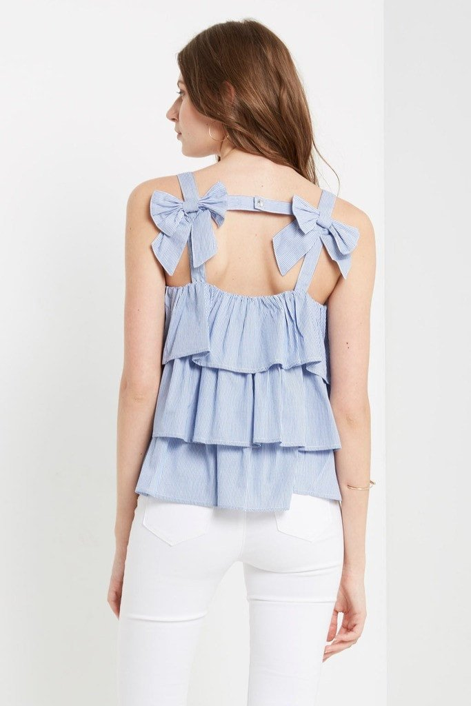 Poshsquare Tops Blue Embry Striped Bow Back Top