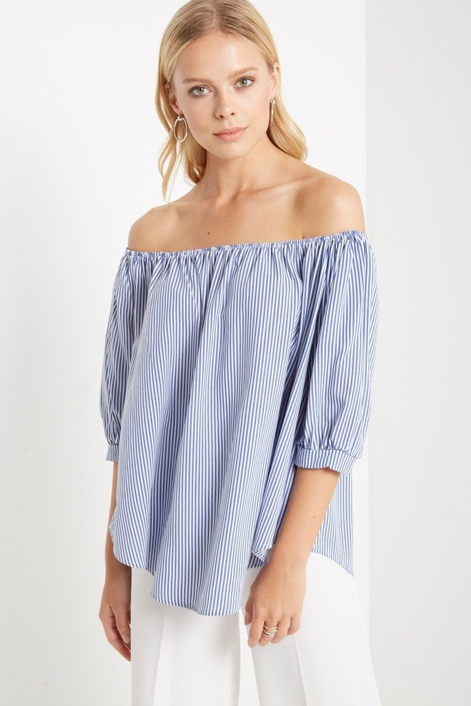 Poshsquare Tops Irene Striped Off the Shoulder Top