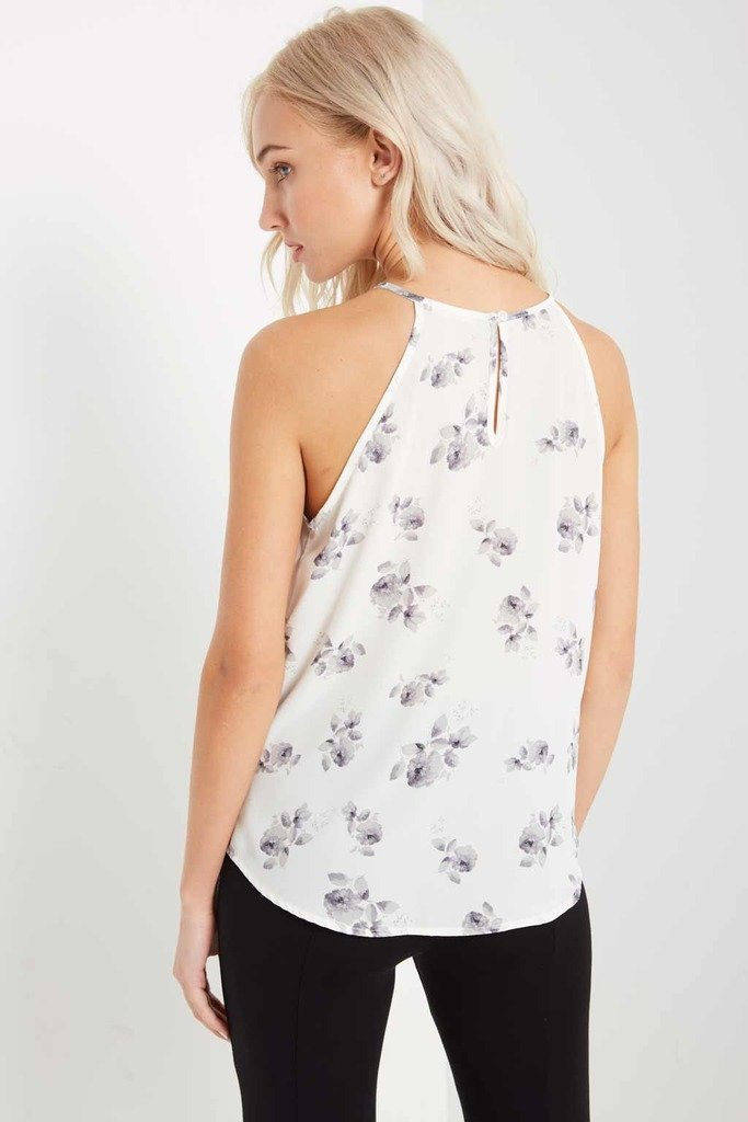 Poshsquare Tops Ivory Floral Tank