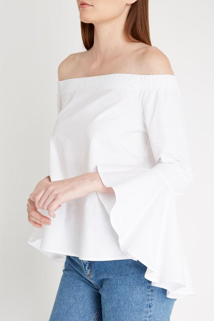 Poshsquare Tops Jene Off the Shoulder Flute Sleeve Top