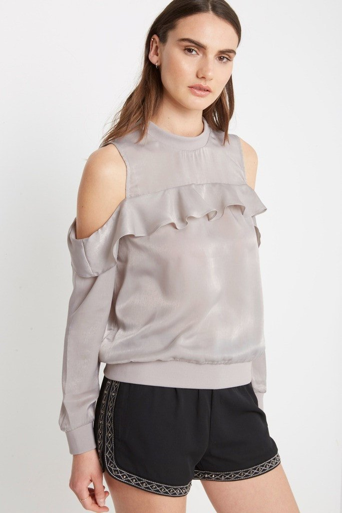 Poshsquare Tops Keepers Cold Shoulder Satin Top