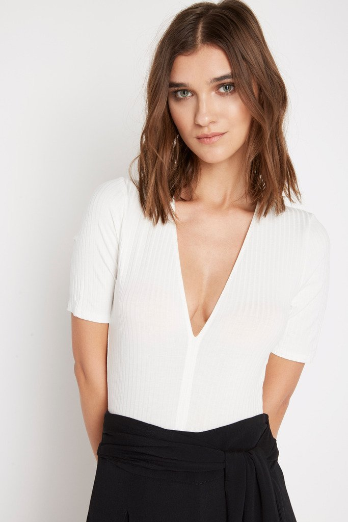 Poshsquare Tops L / White Brook V Neck Ribbed Bodysuit