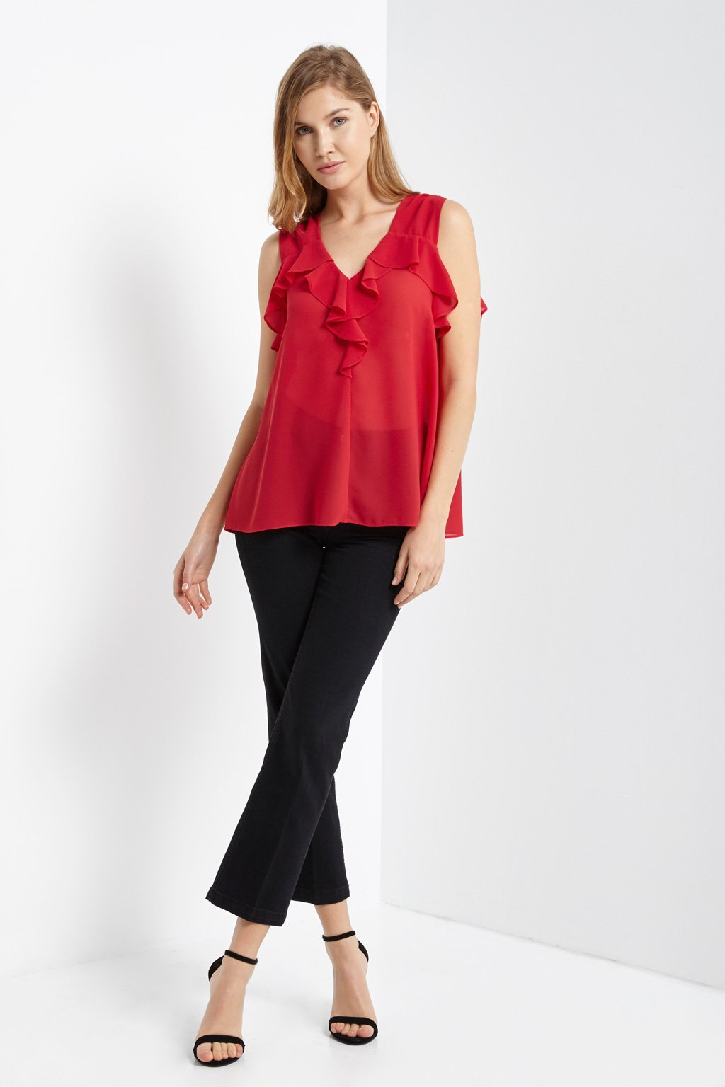 Poshsquare Tops Lima Ruffle Tie Top