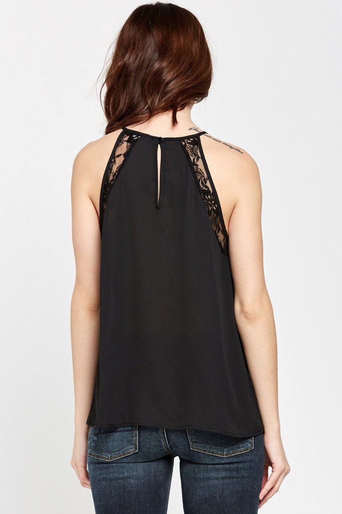 Poshsquare Tops Love Lace Trimmed Pleated-Neck Top