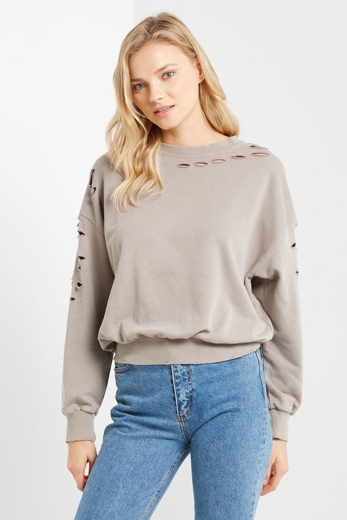 Poshsquare Tops Lucca Distressed Sweatshirt