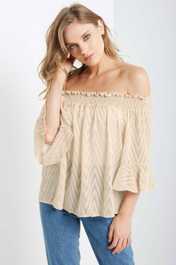 Poshsquare Tops M / Beige In Morocco Off the Shoulder Top