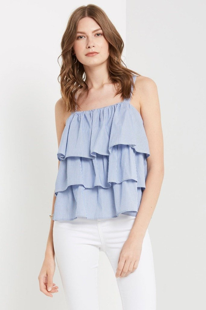 Poshsquare Tops M / Light Blue Blue Embry Striped Bow Back Top