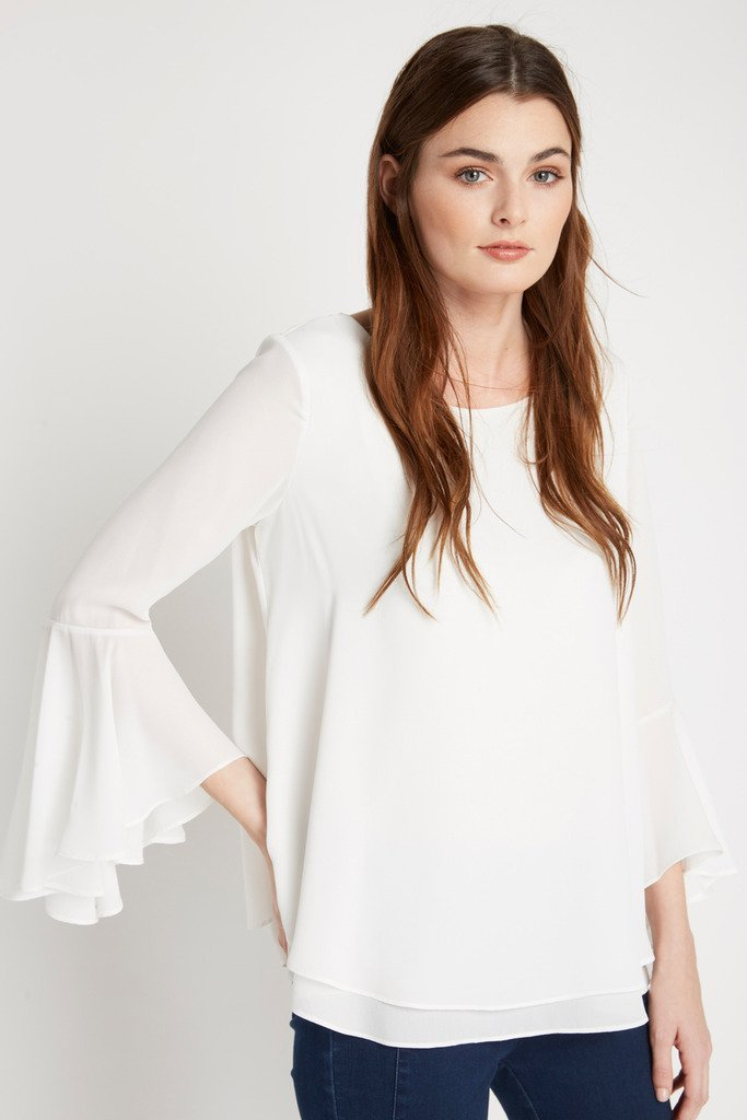 Poshsquare Tops M / White White Flair Bell Sleeve Top