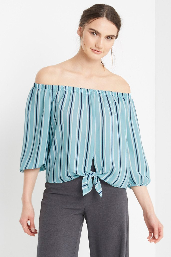 Poshsquare Tops Milan Striped Off the Shoulder Top