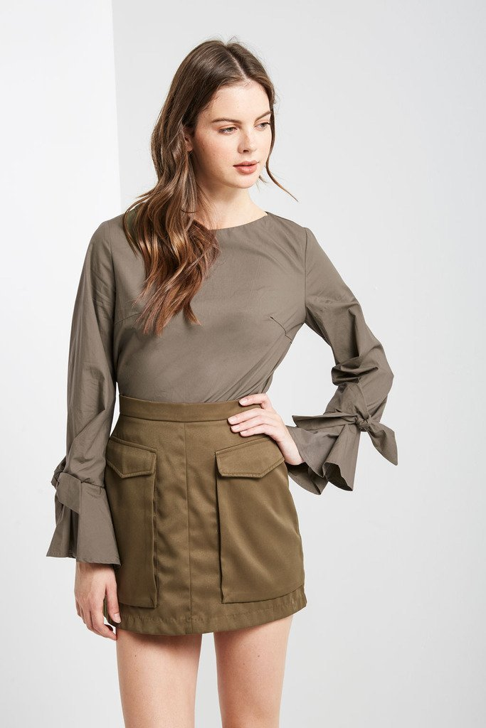 Poshsquare Tops Monay Olive Long Sleeve Top
