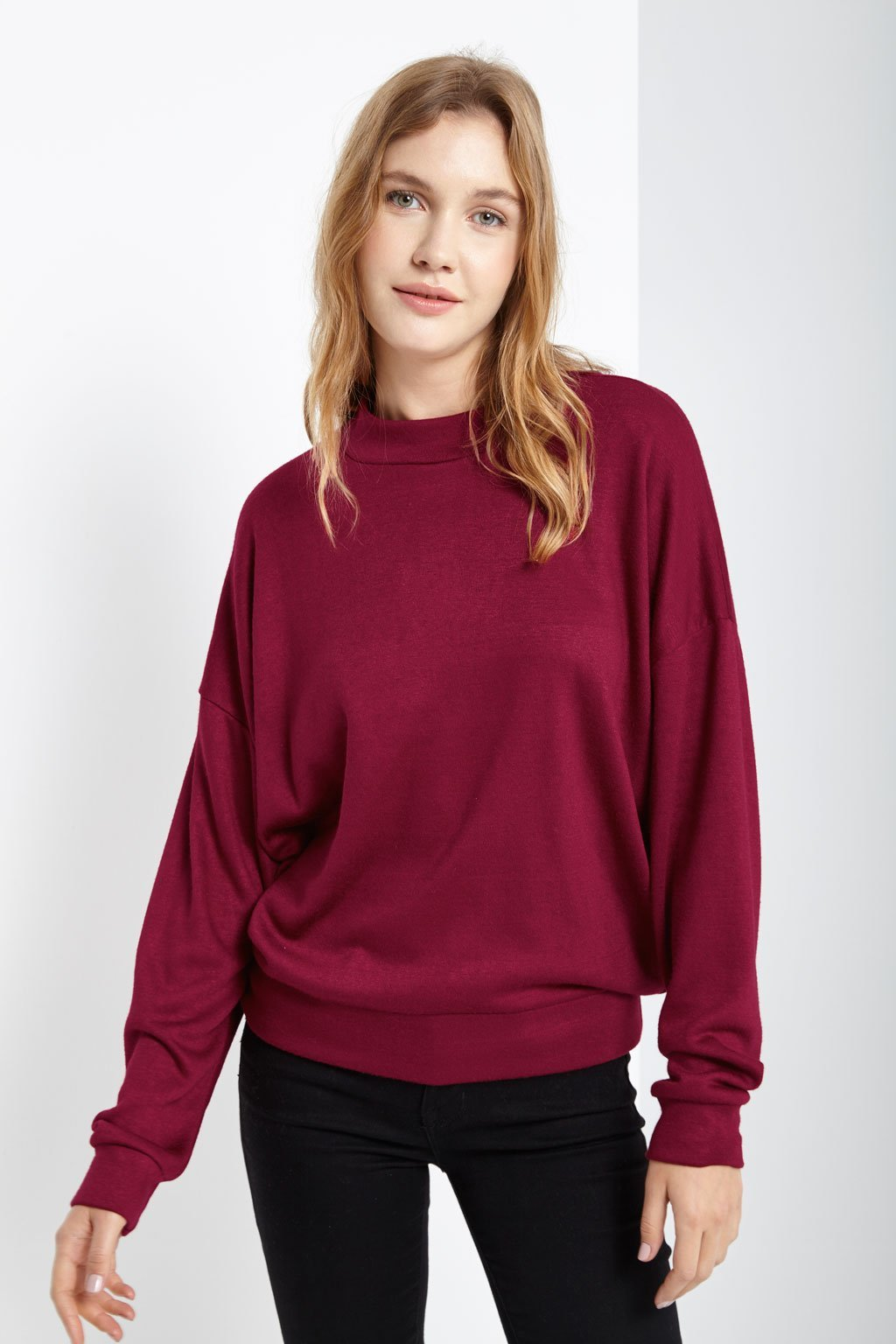 Poshsquare Tops Nica Mock Neck Long Sleeve Sweater Top