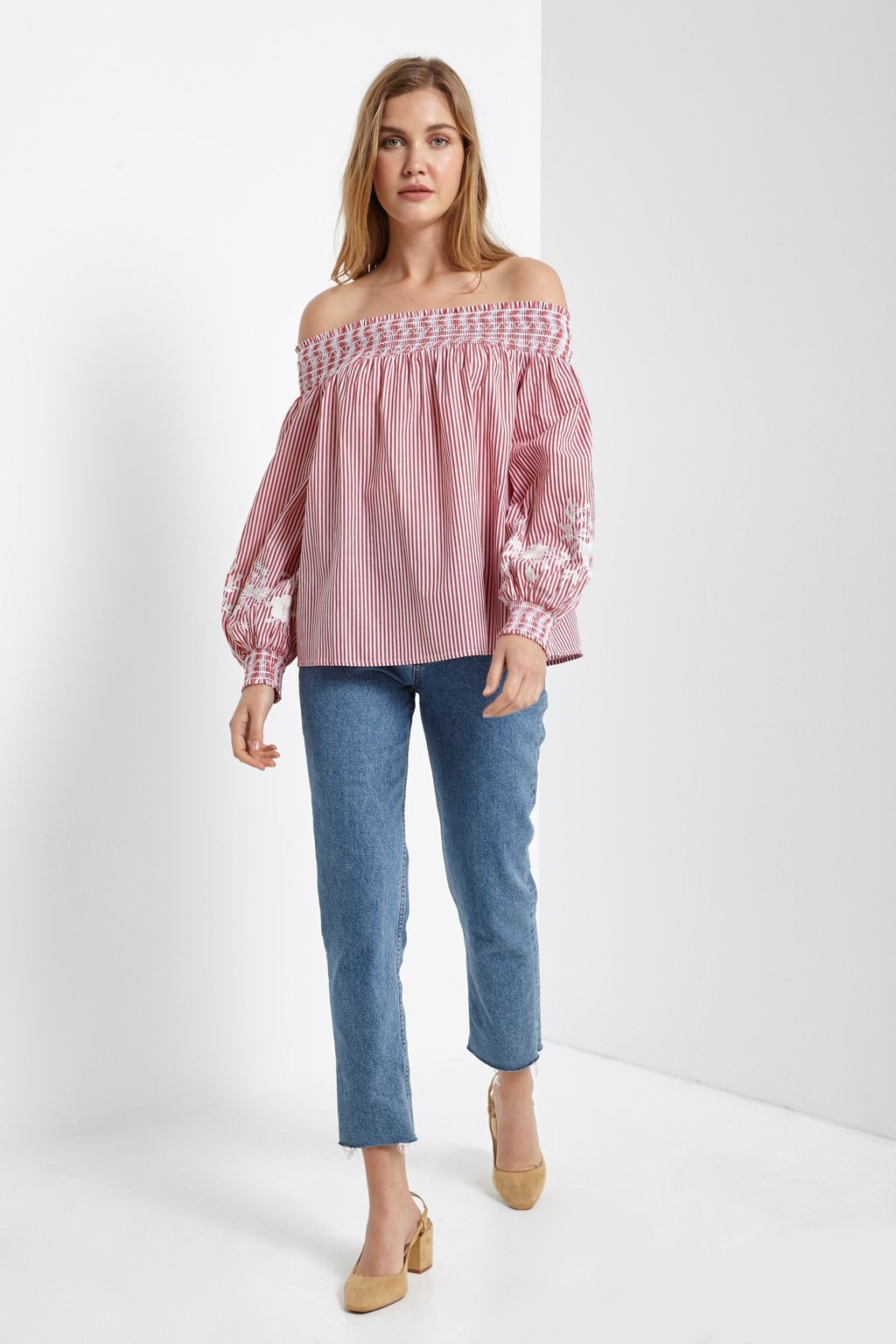 Poshsquare Tops Off The Shoulder Embroidered Pinstripe Blouse