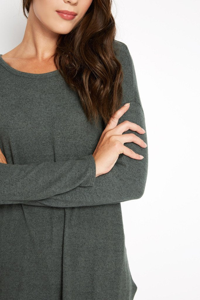 Poshsquare Tops Olive To The Point Asymmetrical Knit Sweater