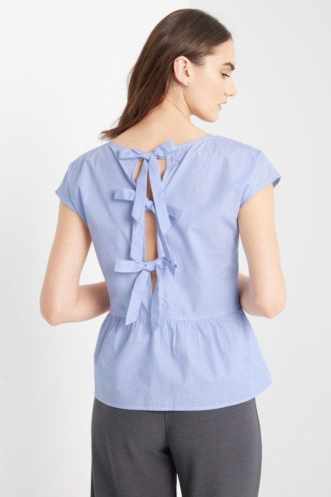 Poshsquare Tops Praver Peplum Bow Back Top
