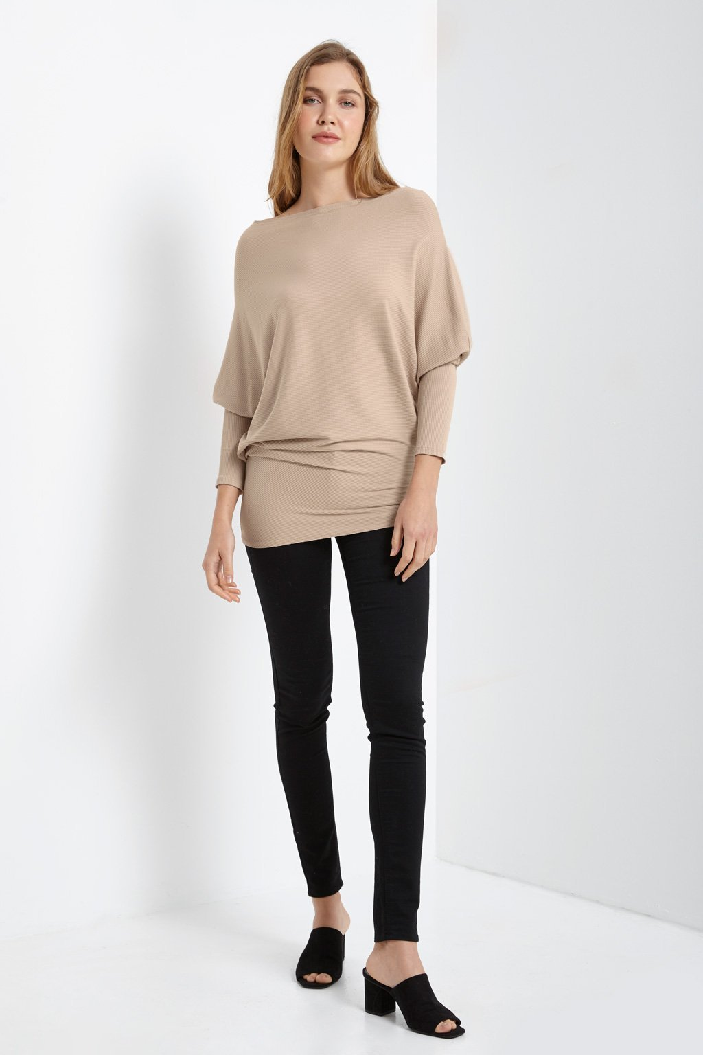 Poshsquare Tops Ribbed Asymmetrical Sweater Top