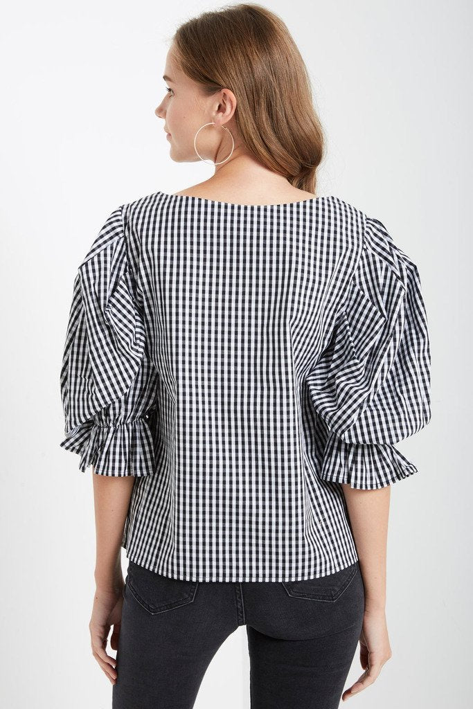 Poshsquare Tops Rise Gingham Top