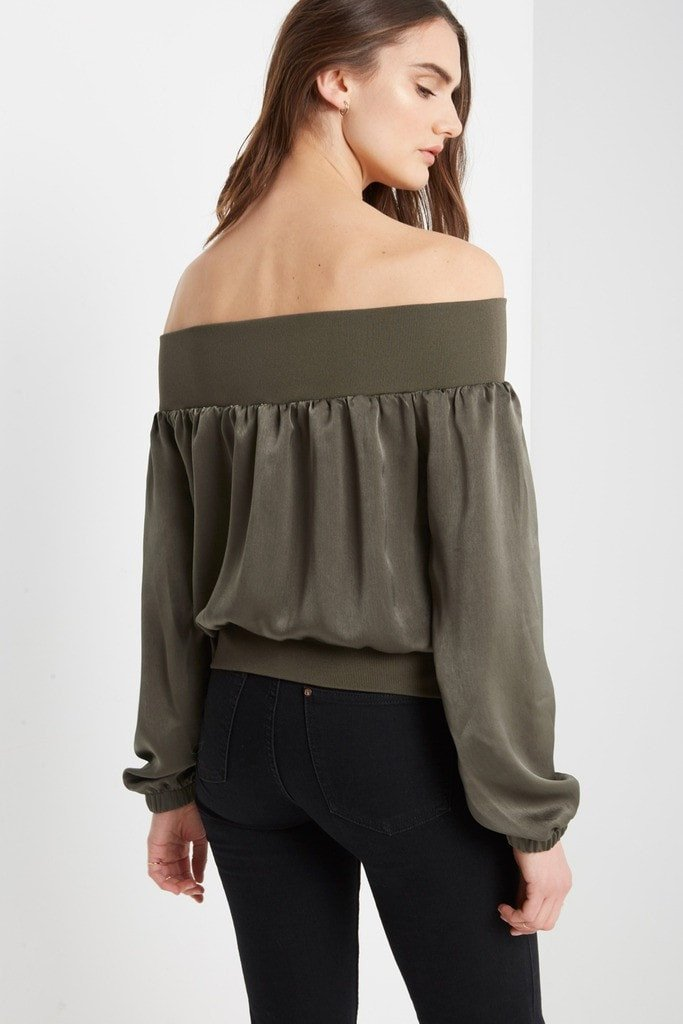 Poshsquare Tops Ritter Satin Off the Shoulder Top