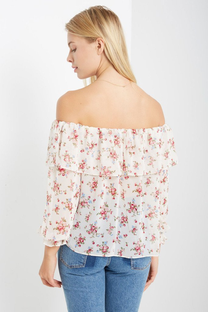 Poshsquare Tops Rose Prose Off the Shoulder Top