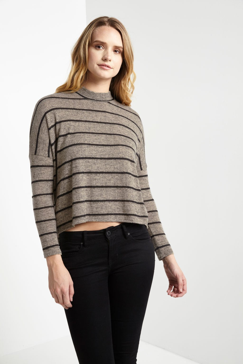 Poshsquare Tops Love Life Striped Mockneck Sweater Top