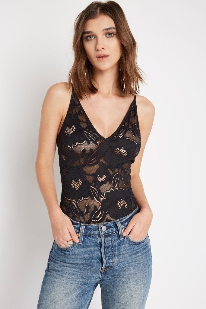 Poshsquare Tops S / Black Black Lace Consumption Bodysuit