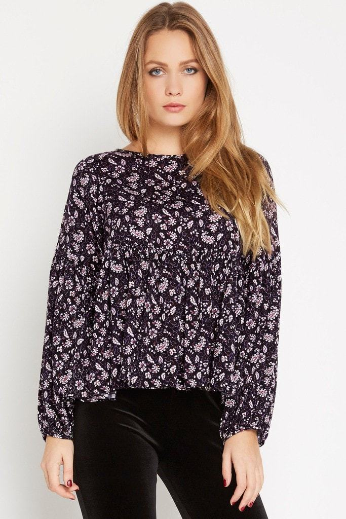 Poshsquare Tops S / Black Floral Peplum Top