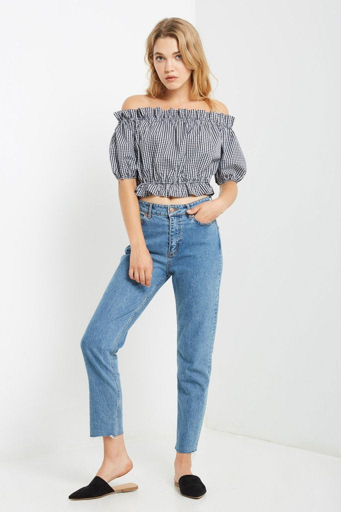 Poshsquare Tops S / Black Gingham Off the Shoulder Crop Top