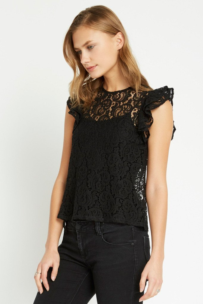 Poshsquare Tops S / Black Lorelai Ruffle Top