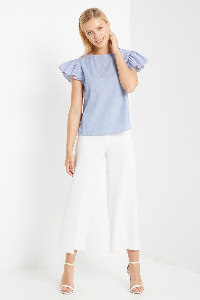 Poshsquare Tops S / Blue Blue Mallory Striped Short Sleeve Top